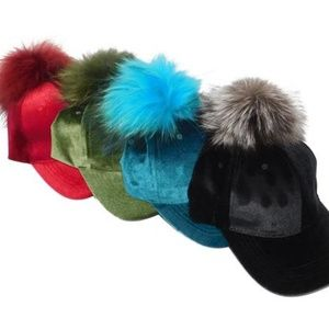 Accessories - Velvet Caps with Removable Pom Poms
